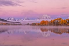 Teton Autumn Sunrise Reflection Stock Photography