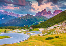 Dramatic sunrise on the Sassolungo (Langkofel) and Sella group Royalty Free Stock Photo