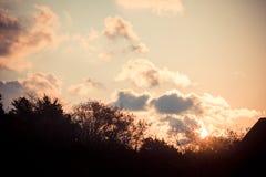 Dramatic sunrise silhouette. Dramatic sky sunrise silhouette by ocean Royalty Free Stock Photos