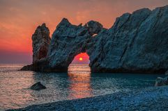Dramatic sunrise in Skiathos, Lalaria in greece. With beautiful colors stock photos