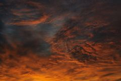 Dramatic sunrise sky at solstice in Russia Royalty Free Stock Photo