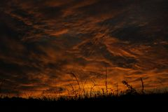 Dramatic sunrise sky at solstice in Russia Stock Images