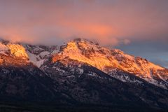 Dramatic Teton Autumn Sunrise Stock Image