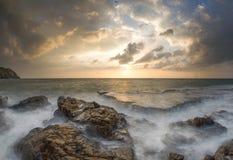 Dramatic sunrise view of Rocky Hang Rai beach, Vietnam