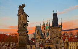 Dramatic sunrise view of the towers of Mala Strana from Charles Royalty Free Stock Image