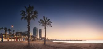 Dramatic sunrset on beach of Barcelona with palm. Dramatic sunrset on Barceloneta beach of Barcelona with palm in the foreground, Spain stock photography