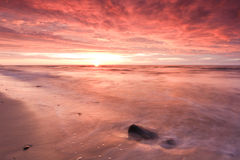 Dramatic sunset. Dramatic fiery sunset over Baltic sea Royalty Free Stock Photo