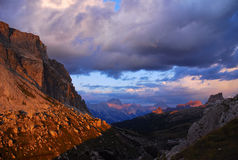 Dramatic Sunset. Magic scenery seen from the Valparola Pass on the Dolomites mountains, Italy stock photos