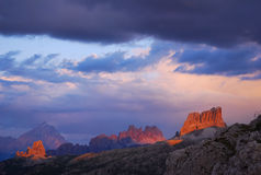 Dramatic Sunset. Magic sunset on M.Averau and Cinque Torri seen from Valparola Pass on the Dolomites mountains, Italy royalty free stock photos