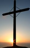 Dramatic sunset 2. Latin cross on a sunset in mediterranean (south italy)  sea Stock Photo