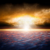Dramatic sunset. Dramatic apocalyptic background, end of world, red sunset, armageddon, hell, big explosion Royalty Free Stock Photos