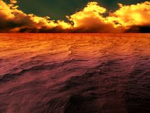 Dramatic sunset. Yellow, orange, red, brown and purple sunset Royalty Free Stock Photo