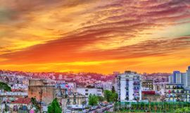 Dramatic sunset above Algiers, the capital of Algeria. North Africa royalty free stock photography