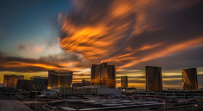 Dramatic sunset above casinos on the Las Vegas Strip Royalty Free Stock Photography