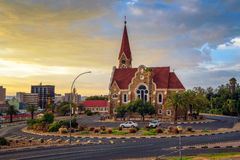 Dramatic sunset above Christchurch, Windhoek, Namibia. Dramatic sunset above Christchurch, a historic landmark and Lutheran church in Windhoek, capital city of royalty free stock photography