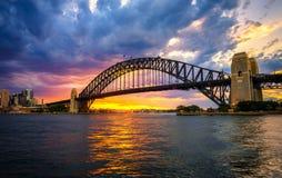 Sunset above Harbour Bridge in Sydney. Dramatic sunset above Harbour Bridge in Sydney, NSW, Australia Stock Image