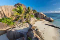 Dramatic sunset at Anse Source d`Argent beach, La Digue island, Seychelles Royalty Free Stock Photos