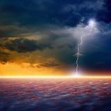 Dramatic sunset. Dramatic apocalyptic background, end of world, bright lightnings, armageddon, hell Stock Images