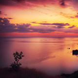 Dramatic sunset at cape Fiolent Stock Photography