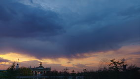 Dramatic sunset in the center of Moscow. On VDNH stock video