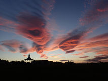Dramatic sunset & cloud formation over Nairn Links royalty free stock image