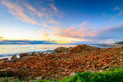 Dramatic sunset with clouds above the sea Royalty Free Stock Image