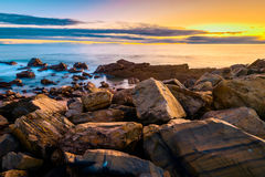 Dramatic sunset with clouds above the sea Stock Image