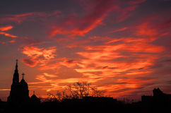 Dramatic sunset with clouds in Ukraine. Sunset in dramatic colors in Kharkov Stock Photo