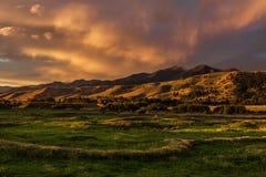 Low Light Sunset, Bozeman Montana USA. Dramatic sunset cloudscape of mountains views at Bozeman, Montana USA Stock Image
