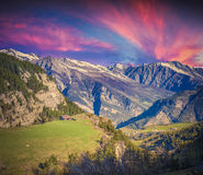 Dramatic sunset on the Col de la Bonette pass Royalty Free Stock Photo