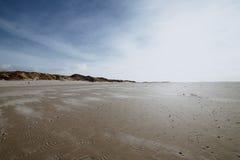 Dramatic Sunset dunes on the island of Amrum in spring stock photo