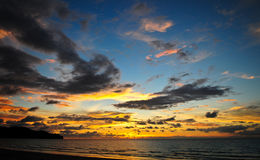 Dramatic Sunset Eith Clouds Over Ocean Stock Photography
