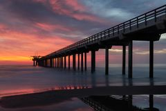 Scripps Pier at sunset Royalty Free Stock Images