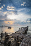 Dramatic sunset at fishing village Royalty Free Stock Image
