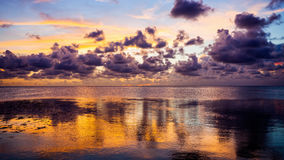 Dramatic Sunset in the Florida Keys Sun Setting Over the Gulf of Stock Image