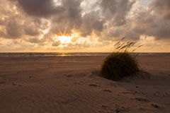 Dramatic sunset with heavy clouds over Baltic. Royalty Free Stock Photos