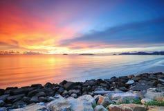 Dramatic sunset at Kota Kinabalu sabah. Amazing and colorful sunset in sabah, malaysia Royalty Free Stock Photography