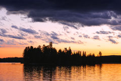 Dramatic sunset at lake Royalty Free Stock Photo