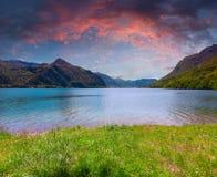 Dramatic sunset at Lake Idro Stock Images