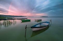 Dramatic sunset on the lake Royalty Free Stock Photography