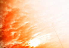 Dramatic sunset light leak with right aligned street lamp backgr. Ound royalty free stock photography