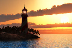 Dramatic sunset with lighthouse on island in sea. Beautiful scenery of red dramatic sunset with lighthouse on island in sea stock image