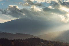 Dramatic sunset lightin the mountains Stock Photography
