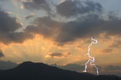 Dramatic Sunset with Lightning Stock Image