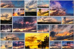 Free Dramatic Sunset Like Fire In The Sky With Golden Clouds Collage Royalty Free Stock Photography - 76508427