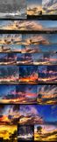 Dramatic sunset like fire in the sky with golden clouds collage Stock Photo