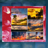 Dramatic sunset like fire in the sky with golden clouds collage Royalty Free Stock Photography