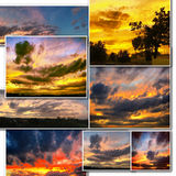 Dramatic sunset like fire in the sky with golden clouds collage Royalty Free Stock Photo