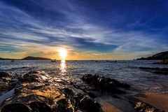 Dramatic Sunset with local boat in Thailand Royalty Free Stock Photo