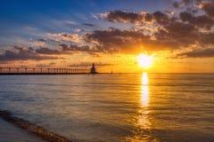 Dramatic Sunset at Michigan City East Pierhead Lighthouse stock photo